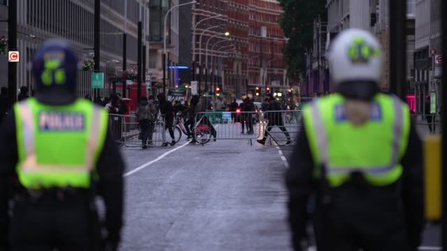 protesters throw missiles and build barricades blocking the police after a black lives matter march through central london on june 6, 2020 in london,... - boundary stock videos & royalty-free footage