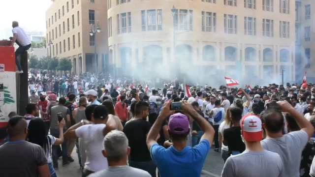 protesters took to the streets in lebanon's capital on saturday against the government's inaction over the worsening economic crisis. thousands... - lebanon country stock videos & royalty-free footage