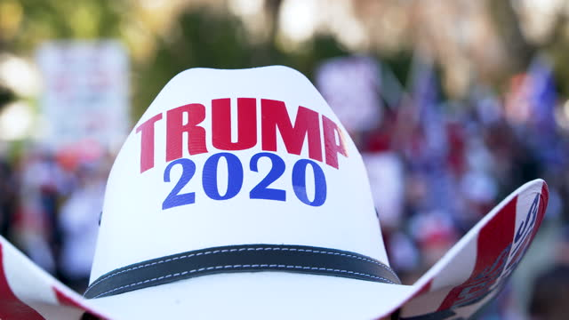 protesting the 2020 us presidential elections thousands of president donald trump supporters rally and march at the us supreme court in downtown... - cowboy hat stock videos & royalty-free footage