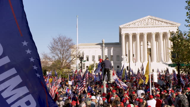 protesting the 2020 us presidential elections thousands of president donald trump supporters rally and march to the u.s. supreme court in downtown... - u.s. supreme court stock videos & royalty-free footage