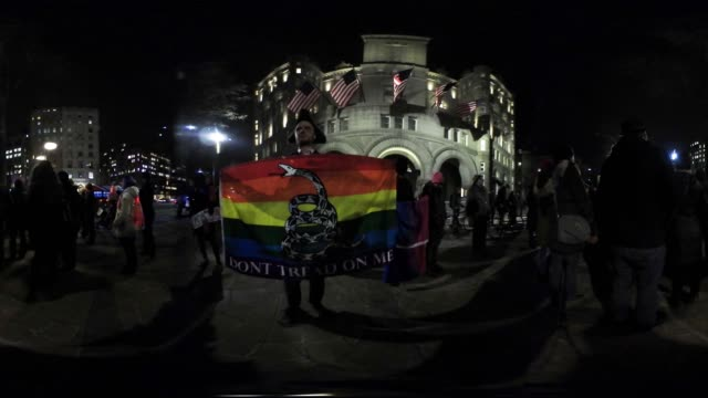 Protestors and LGBT activists rally organized by the group 'WERK for Peace' outside the Trump International Hotel February 3 2017 in Washington DC to...