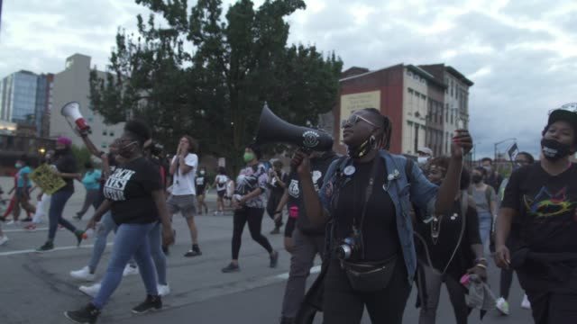 protestors chant slogans about black appreciation and selflove as they march towards jefferson square park on september 25 2020 in louisville... - self love stock videos & royalty-free footage