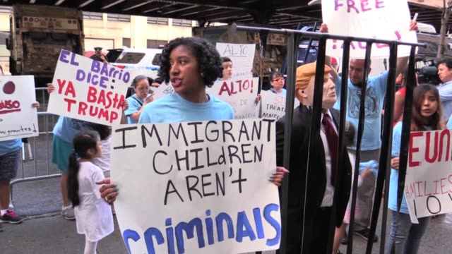 protestors demand families be reunited 300 migrant children separated from their parents at the borders are housed inside cayuga 'tender care... - goodbye stock videos & royalty-free footage