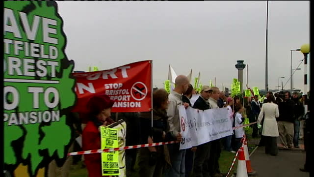protestors demonstrate against stansted airport expansion; england: essex: stansted airport: ext general views of protestors demonstrating against... - national trust video stock e b–roll