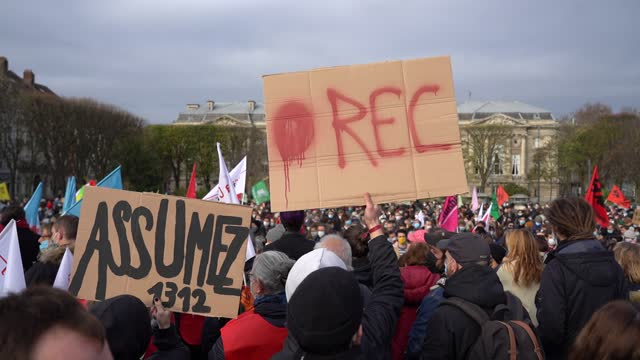 protestors demonstrate at republique square of lille in protest to the french government's proposed global security law bill on november 21, 2020 in... - law stock videos & royalty-free footage