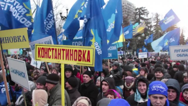 Protestors filled the Maidan independance square in Kiev on Thursday to support Ukrainian president Viktor Yanukovych on Thursday CLEAN Protest in...
