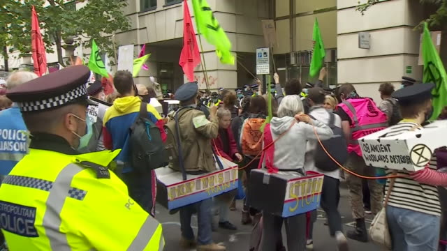 protestors from stop hs2 and extinction rebellion demonstrating in london as construction on the tracks went ahead - train vehicle stock videos & royalty-free footage