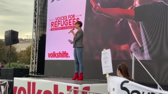 protestors gathered in the austrian capital vienna on saturday to demand the country take in refugees especially who are in the moria refugee camp on... - traditionally austrian stock videos & royalty-free footage