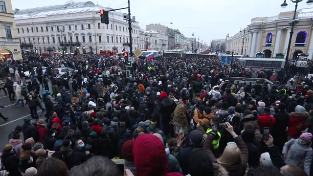 protestors is seen during a protest against the jailing of opposition leader alexey navalny in st. petersburg. alexey navalny is top russian... - protestor stock videos & royalty-free footage