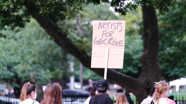 protestors march through the streets of williamsburg as bystanders watch. painted signs held up. the 55th night of the george floyd vigil at mccarren... - hipster person stock videos & royalty-free footage