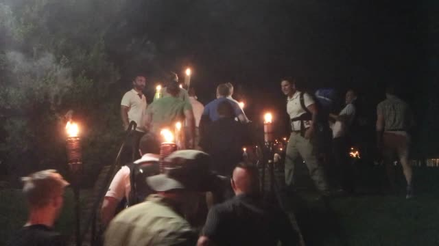protestors marched with burning torches on the 11th of august 2017 at the charlottesville campus of the university of virginia usa opposing the... - statue stock videos & royalty-free footage