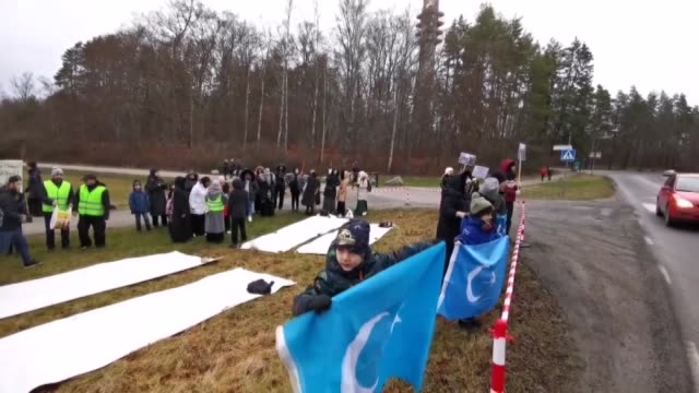 protestors on january 11, 2020 stage a demonstration in front of china's embassy in the swedish capital against beijing's human rights violations... - human stage stock videos & royalty-free footage