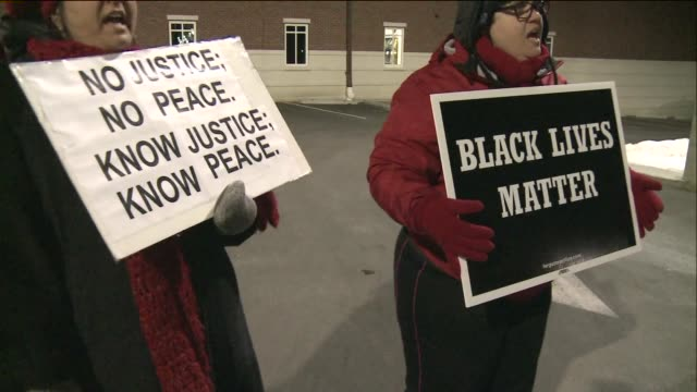 Protestors outside of Ferguson Police Department after DOJ report release on March 04 2015 in Ferguson Missouri