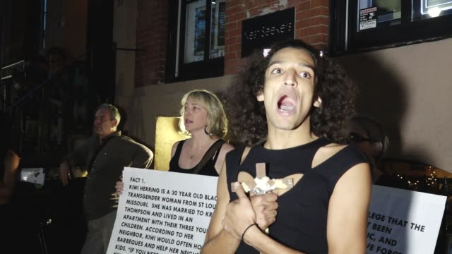 Protestors rallied outside New York City's Stone Wall Inn to hold a vigil for Kiwi Herrin a black trans woman fatally shot by police on Aug 21 by the...