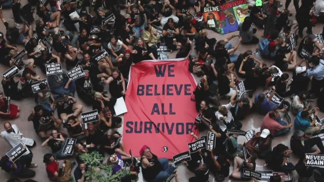 protestors rally against supreme court nominee judge brett kavanaugh in the atrium of the hart senate office building on capitol hill october 4 2018... - sexual violence stock videos & royalty-free footage