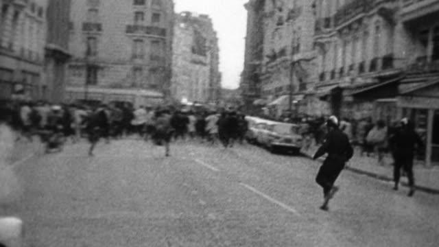 MS, PAN, B&W, Protestors running on street, Europe