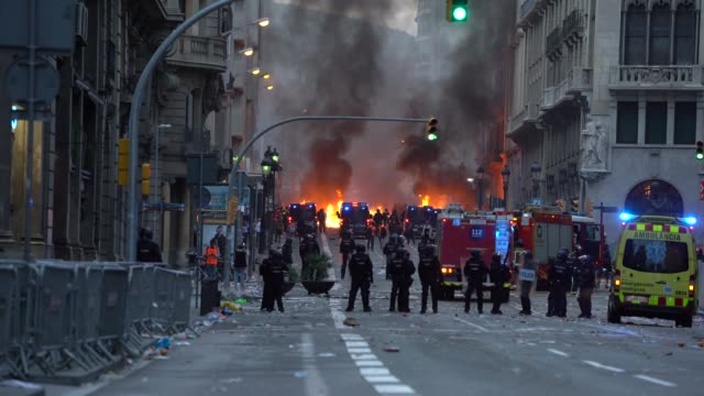 protestors seen clashing with spanish police during a general strike on october 18 2019 in barcelona spain earlier in the week the spanish supreme... - anti fascism stock videos & royalty-free footage