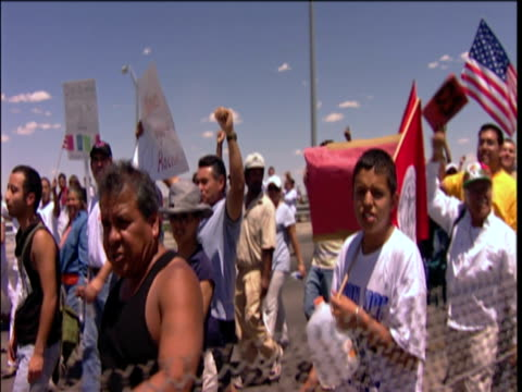 protestors walking across bridge el paso texas usa - 2006 stock videos & royalty-free footage