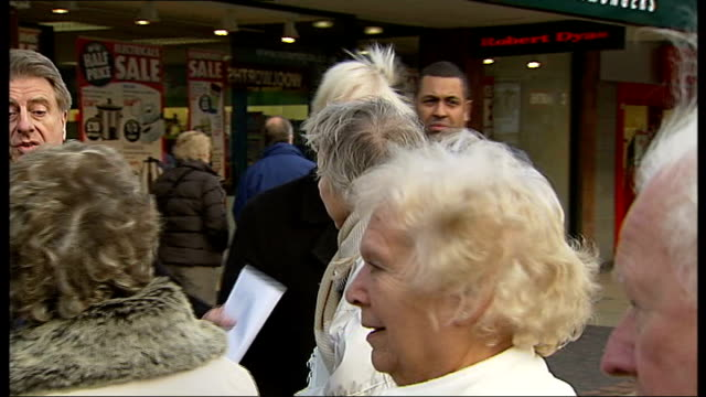 protests against closures at queen mary hospital, sidcup; bexleyheath: protester handing out leaflets in shopping street boris johnson and another... - petition stock videos & royalty-free footage