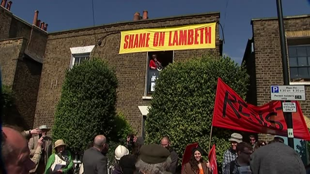protests against housing eviction in lambeth kate hoey interview sot now because house prices have gone up lambeth council want to sell / going to... - expense stock videos & royalty-free footage