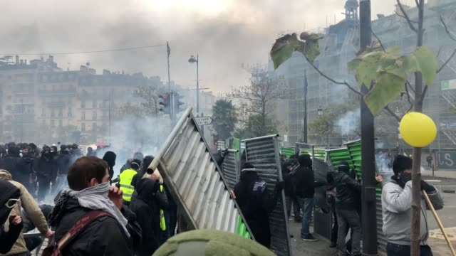 protests break out in paris on the oneyear anniversary since the 'mouvement des gilets jaunes' demonstrations broke out in the french capital - france stock videos & royalty-free footage
