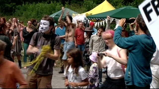 Protests continue at West Sussex fracking site Protesters clapping
