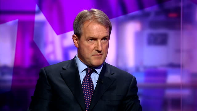 protests continue over government plans to cull badgers england london gir int owen paterson mp live studio interview sot - owen paterson stock videos and b-roll footage