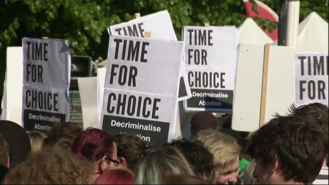 Protests in Belfast calling for reform of strict antiabortion laws FILE May 2018 Belfast EXT Various of proabortion demonstrators demonstrating...