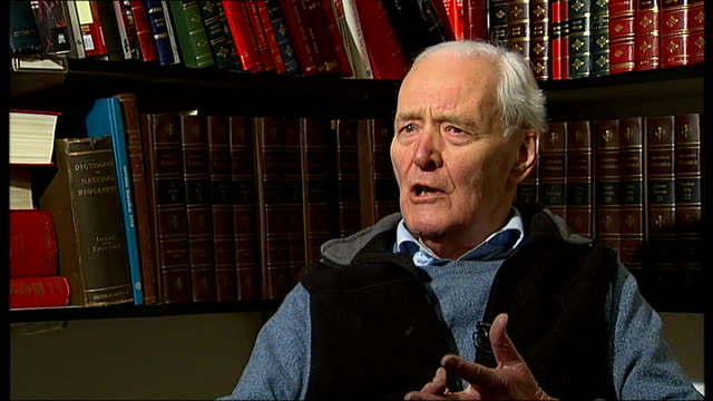 protests in central london on the increase; london: int tony benn interview sot - talks of why people should be allowed to protest - トニー ベン点の映像素材/bロール