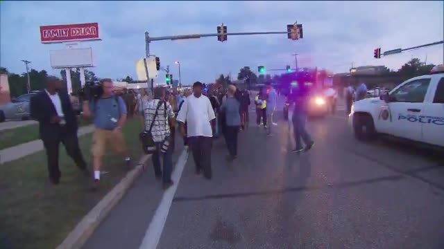 Protests in Ferguson Missouri After Mike Brown Shooting on August 18 2014 in Ferguson Missouri