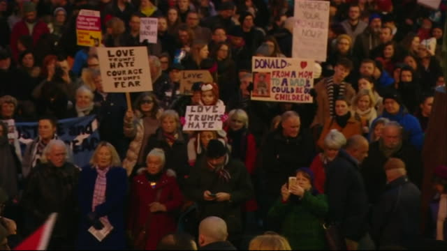 Protests in Glasgow over the planned state visit of Donald Trump to the UK after the US travel ban on seven Muslim countries