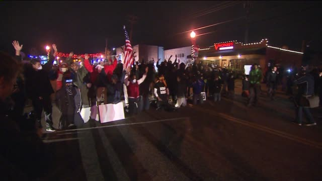 protests, police clash in ferguson on night of michael brown jury decision on november 27, 2014 in ferguson, missouri. - confrontation stock videos & royalty-free footage