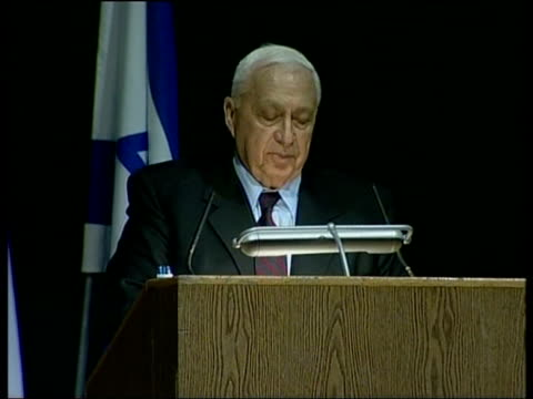 protests spread after yassin assassination itn ariel sharon at press conference sot israel is a very strong country/ we will continue to take any... - ariel sharon stock videos and b-roll footage