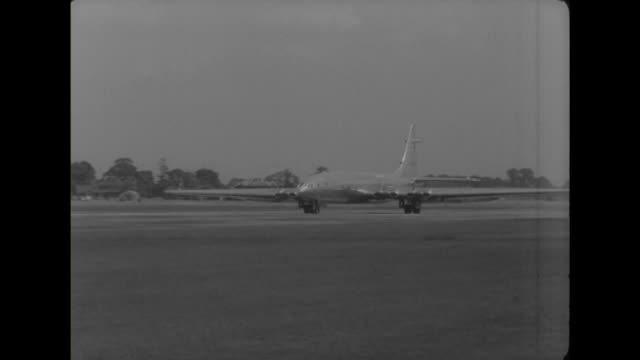 a prototype bristol brabazon passenger aircraft comes into land at london airport during test trials - bristol england stock videos & royalty-free footage