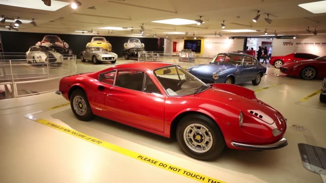 vídeos y material grabado en eventos de stock de a 1968 prototype ferrari spa 365 gtb4 sits on display at the ferrari museum in maranello italy on thursday oct 15 2015 shots ferrari spa racing... - ferrari