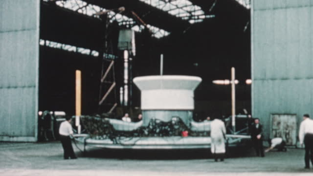 1960 montage sr.n1 prototype of the hovercraft being unveiled after eight months of construction / united kingdom - hovercraft stock videos & royalty-free footage