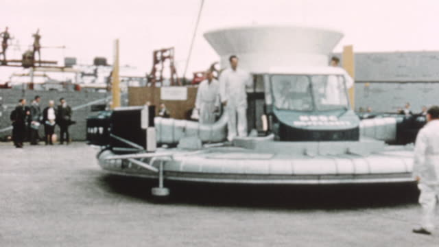 1960 montage sr.n1 prototype of the hovercraft making her debut to the public / united kingdom - hovercraft stock videos & royalty-free footage