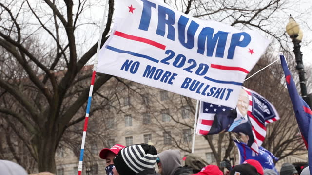 pro-trump flags waving over protestors heads during save america march in washington dc, u.s. on wednesday, january 6, 2020. - male likeness stock videos & royalty-free footage