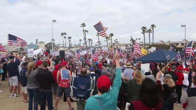 protrump march in huntington beach california - huntington beach california stock videos and b-roll footage