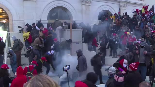 pro-trump rioters stormed the us capitol wednesday as lawmakers were set to sign off on president-elect joe biden's electoral victory in what was... - capitol building washington dc stock videos & royalty-free footage