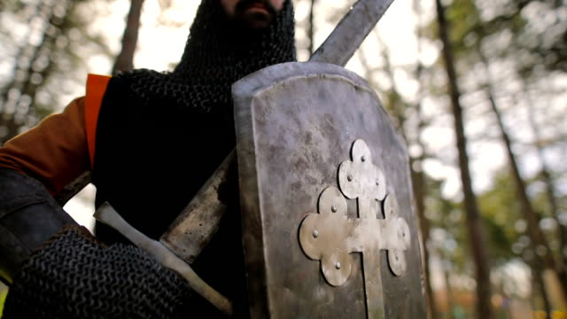proud knight after the battle - knights templar stock videos & royalty-free footage