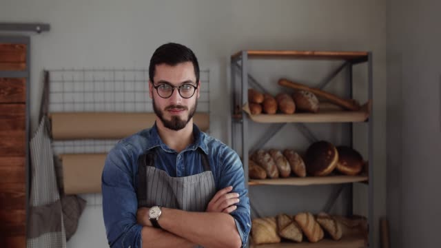 proud on his bakery business - baked pastry item stock videos and b-roll footage