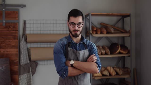proud on his bakery business - baker occupation stock videos and b-roll footage