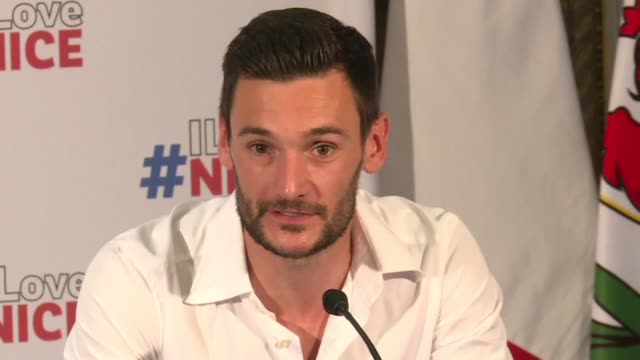 proud to be french and proud to be from nice two days after the french team's return from russia hugo lloris gives a press conference in his hometown... - hugo lloris stock videos and b-roll footage