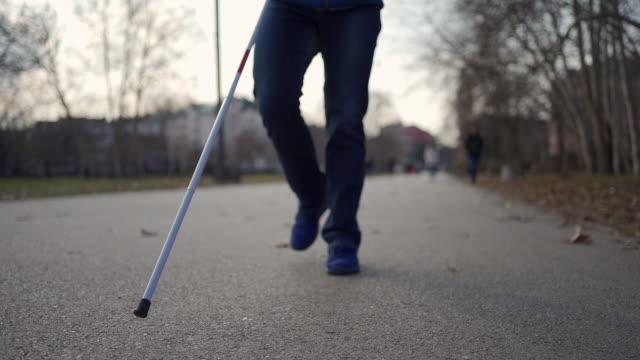 公共公園で朝の散歩を楽しむ視覚障害を持つ誇り高い若者 - 盲目点の映像素材/bロール