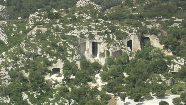 provence landscape near les baux - outcrop stock videos & royalty-free footage