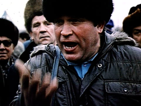 pro-yeltsin demonstration in moscow, man speaking passion and complains about perestroika audio / moscow, russia - 1990 stock videos & royalty-free footage