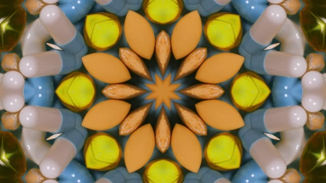 stockvideo's en b-roll-footage met psychedelic kaleidoscope effect of pills and tablets - caleidoscoop patroon