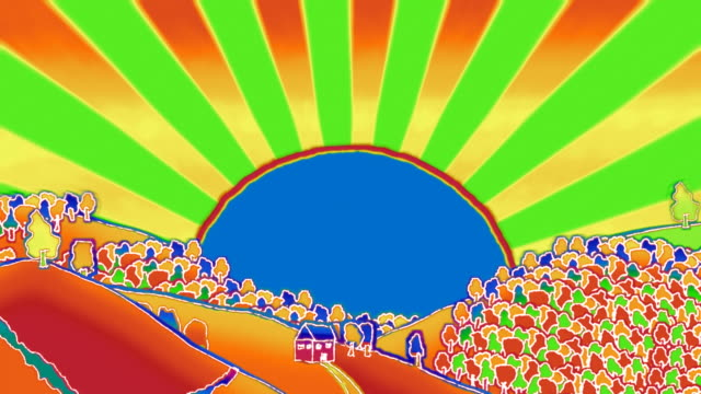 Psychedelic styled blazing sun over doodled landscape