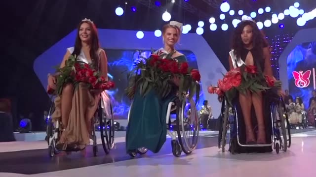a psychology student from belarus aleksandra chichikova is chosen to be miss wheelchair world in the first ever edition of the beauty pageant held in... - miss world pageant stock videos & royalty-free footage